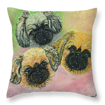 Throw Pillow featuring the painting Three Amigos by Ania M Milo