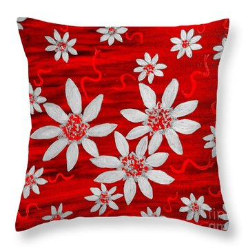Three And Twenty Flowers On Red Throw Pillow