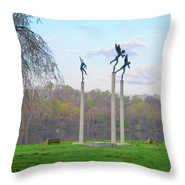 Throw Pillow featuring the photograph Three Angels In Spring - Kelly Drive Philadelphia by Bill Cannon