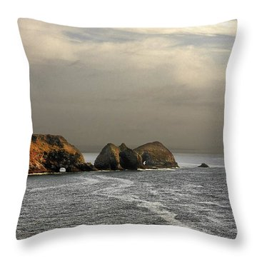 Three Arch Rocks - Oceanside Near Cape Meares - Oregon Throw Pillow by Christine Till