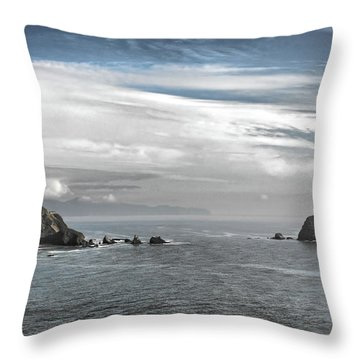 Three Arch Rocks National Wildlife Refuge Near Cape Meares Oregon Throw Pillow by Christine Till