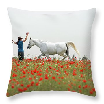 Three At The Poppies' Field Throw Pillow