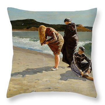 Three Bathers Throw Pillow