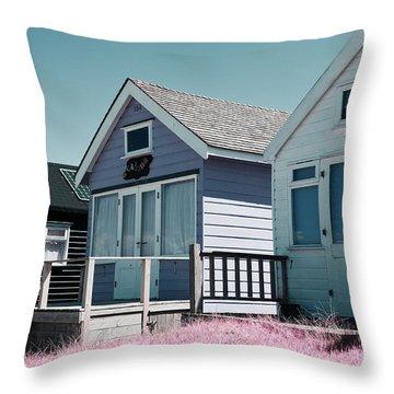 Three Beach Huts Blue Throw Pillow