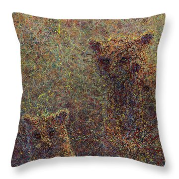 Three Bears Throw Pillow by James W Johnson