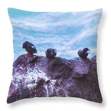 Throw Pillow featuring the photograph Three Birds by Jonny D