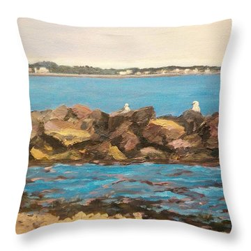 Three Birds Resting Throw Pillow
