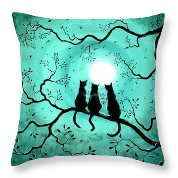 Three Black Cats Under A Full Moon Throw Pillow