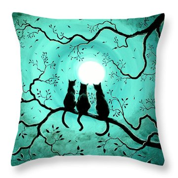 Three Black Cats Under A Full Moon Throw Pillow by Laura Iverson