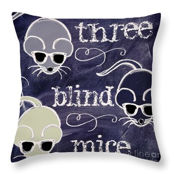 Three Blind Mice Children Chalk Art Throw Pillow by Mindy Sommers