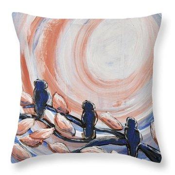 Three Blue Throw Pillow