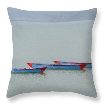 Three Blue Boats On Phewa Lake In Pokhara Throw Pillow