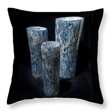 Three Blue Cylinders Throw Pillow