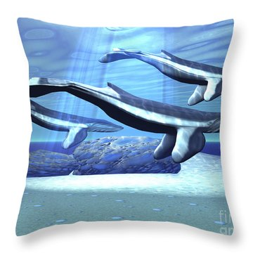 Three Blue Whales Move Throw Pillow by Corey Ford