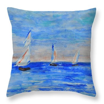 Three Boats Throw Pillow by Jamie Frier