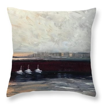 Three Boats Throw Pillow