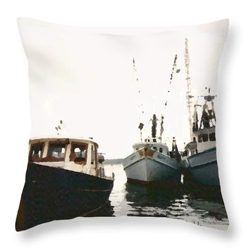 Three Boats Throw Pillow by Walter Chamberlain