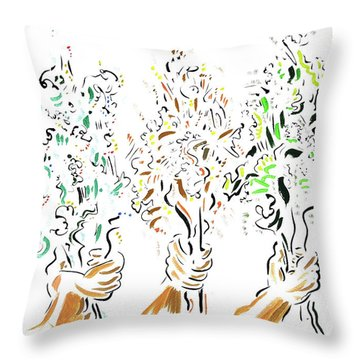 Three Bouquets Throw Pillow