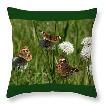 Three Buckeye Butterflies On Wildflowers Throw Pillow by Sheila Brown