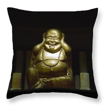 Three Buddhas Throw Pillow by Gary Dean Mercer Clark