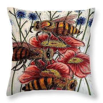 Three Busy Bees Throw Pillow