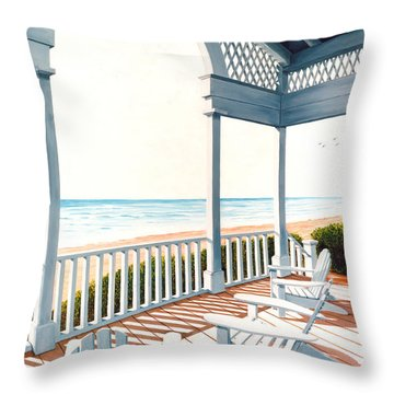 Adirondacks By The Sea - Prints From Original Oil Painting Throw Pillow