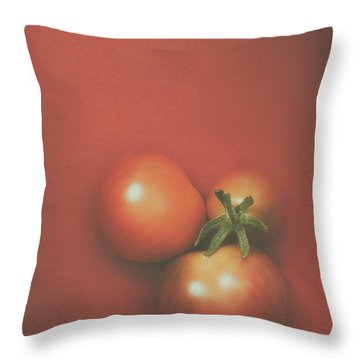 Three Cherry Tomatoes Throw Pillow