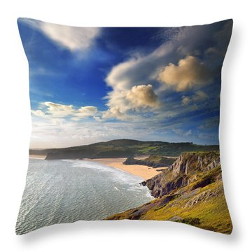 Three Cliffs Bay 1 Throw Pillow