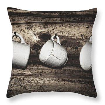Three Coffee Cups Throw Pillow