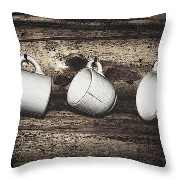 Three Coffee Cups Throw Pillow