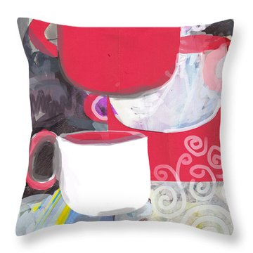 Three Coffee Cups Red And White Throw Pillow
