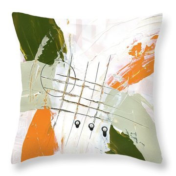 Three Color Palette Orange 3 Throw Pillow by Michal Mitak Mahgerefteh