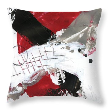 Throw Pillow featuring the painting Three Color Palette Red 2 by Michal Mitak Mahgerefteh