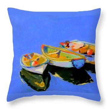 Three Colourful Boats Throw Pillow by Sue Gardner