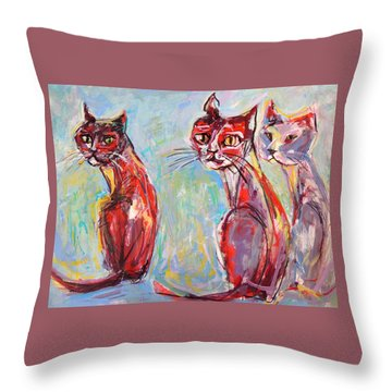 Throw Pillow featuring the painting Three Cool Cats by Mary Schiros