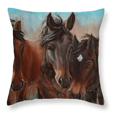 Three Curious Friends Throw Pillow
