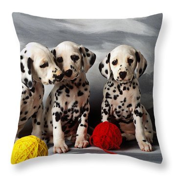 Three Dalmatian Puppies  Throw Pillow