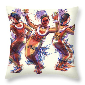 Throw Pillow featuring the painting Three Dancers Of Tongatapu by Judith Kunzle