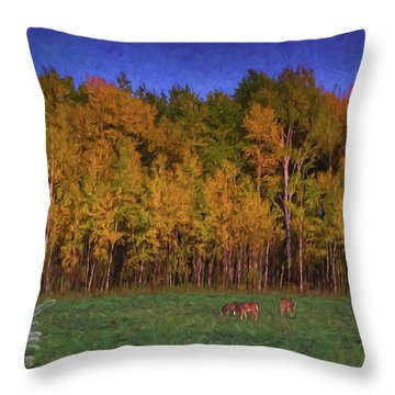 Three Deer And A Moon Throw Pillow