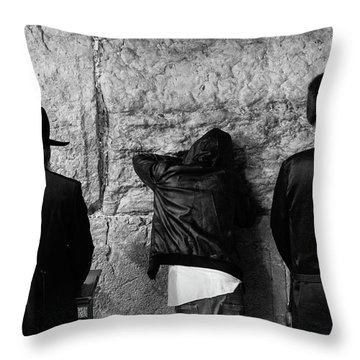 Three Different Selichot Prayers At The Kotel Throw Pillow by Yoel Koskas
