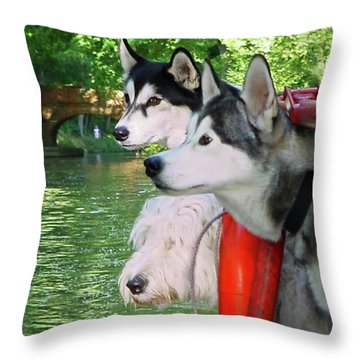 Three Dogs On A Boat Throw Pillow by Terri Waters