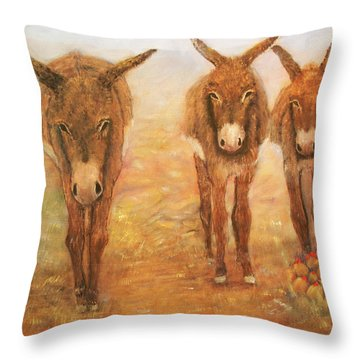 Three Donkeys Throw Pillow by Loretta Luglio