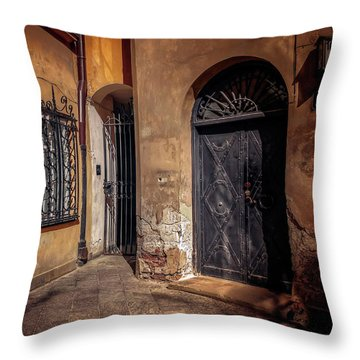Three Doors In Warsaw Throw Pillow by Carol Japp