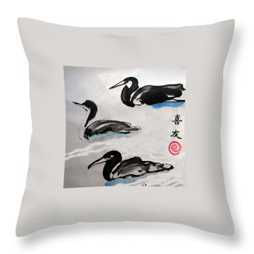 Three Ducks Throw Pillow by Lisa Baack