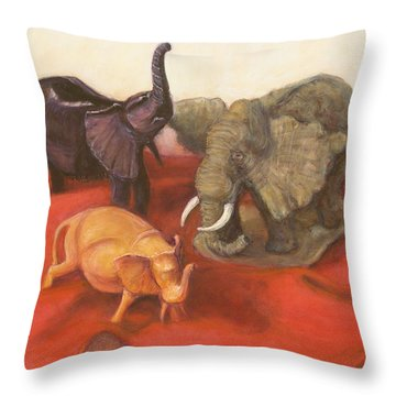 Throw Pillow featuring the painting Three Elephants by Donelli  DiMaria