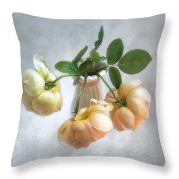 Three English Roses Throw Pillow by Louise Kumpf