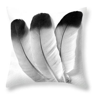 Three Feathers Throw Pillow by Marsha Heiken