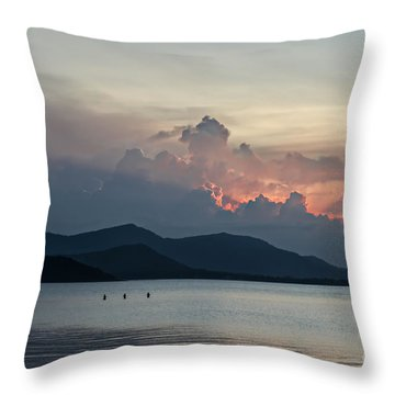 Three Fishermen Throw Pillow by Michelle Meenawong