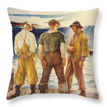 Three Fishermen Throw Pillow