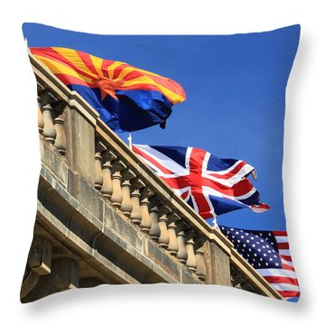 Three Flags At London Bridge Throw Pillow